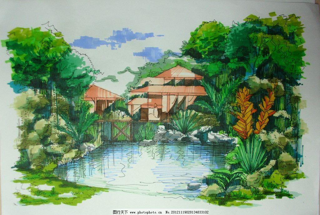 景观手绘设计 手绘 景观 设计 园林 室外 马克 滨水 景观手绘 景观
