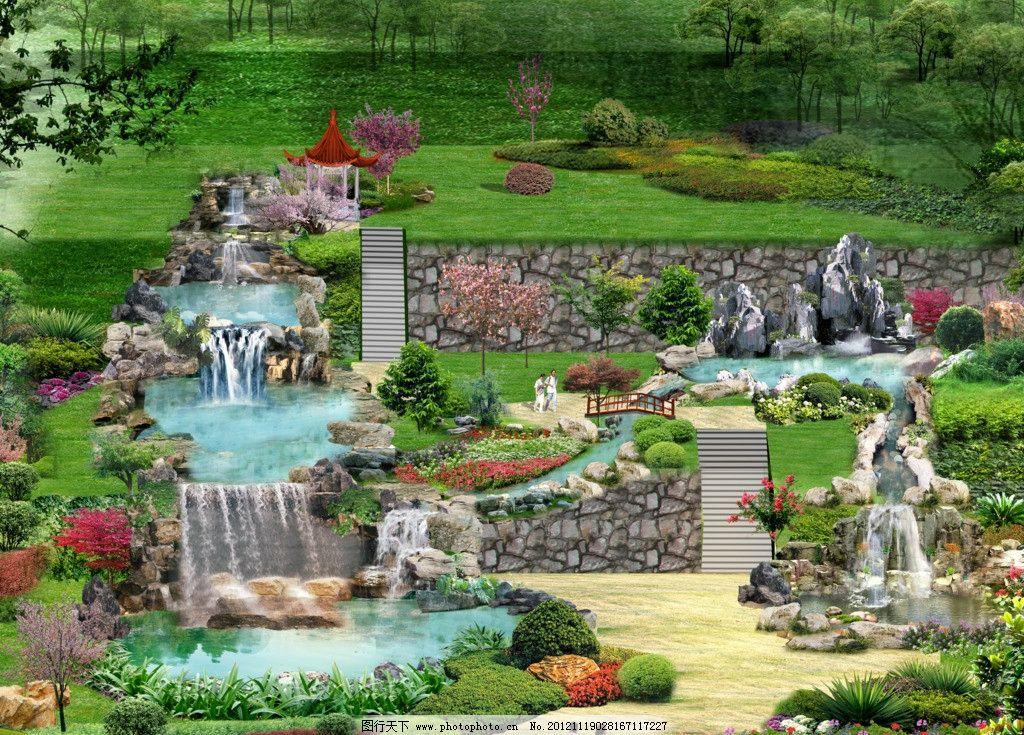 池塘水景平面设计图