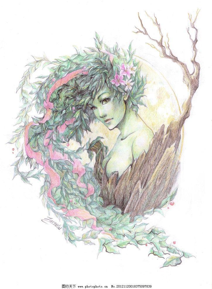 蜡笔画 美女 仙女 花仙子 树妖 花藤 神话 发髻 花瓣 蜡笔 动漫人物