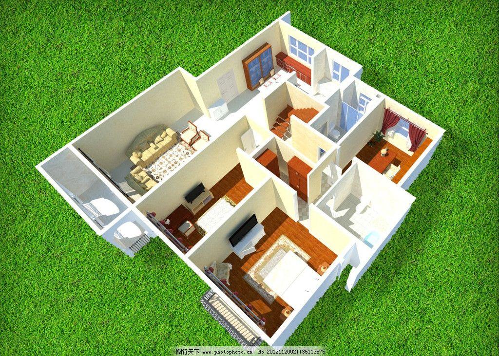 户型 鸟瞰图 布局 草地 室内           餐厅 3d作品 3d设计 设计 72
