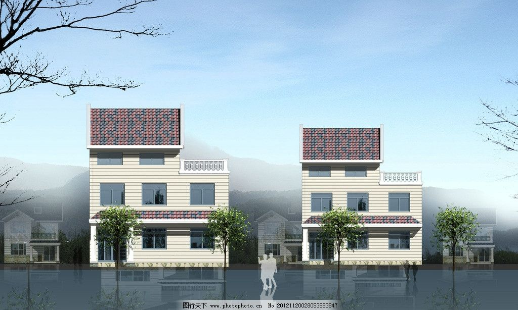 户型效果图 正立面图 户型        3d 楼房 别墅 建筑设计 环境设计