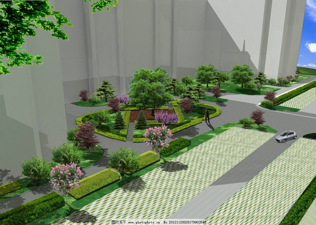 厂区绿化局部效果图 厂区 广场 停车场        绿树 花坛 景观 景观
