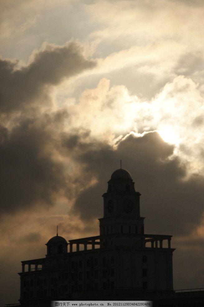 落日 黄昏 阳光 云 逆光 楼房 欧式建筑 天空 神秘 摄影