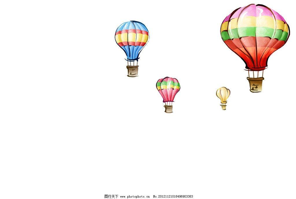 热气球 动漫 素材 彩色 手绘 风景漫画 动漫动画 设计 300dpi jpg
