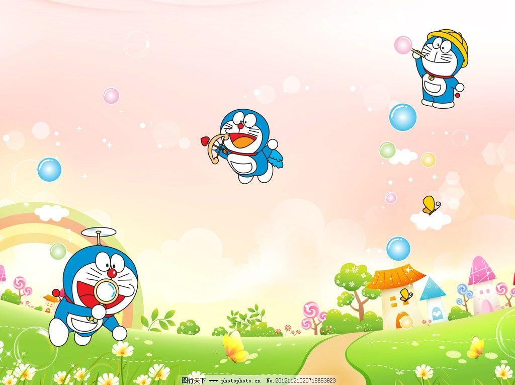 氣泡 蝴蝶 房子 樹 草地 綠 花朵 機器貓 哆啦a夢 動漫 動畫 卡通風景