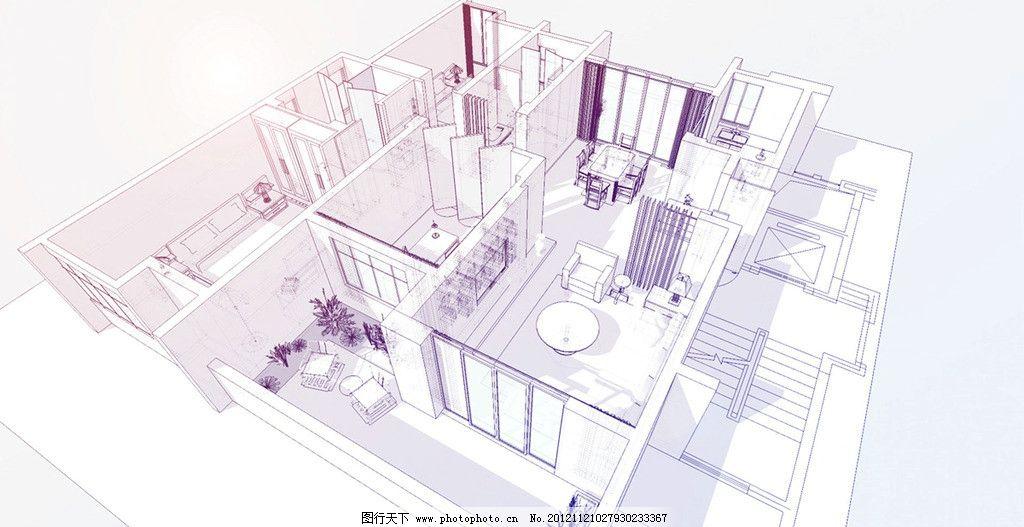 室内鸟瞰图 卧室 客厅 餐厅 线条 手绘 布局