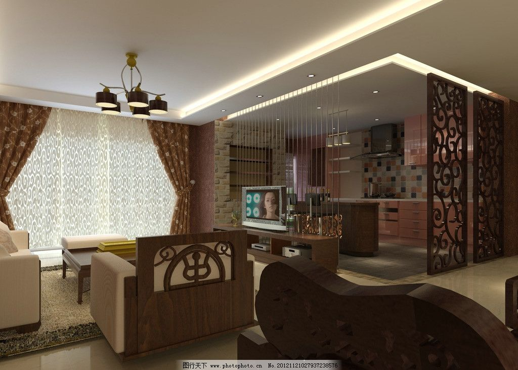 开放式厨房 沙发 中式客厅      橱柜 吊灯 吊柜 灯带 地砖 隔断图片