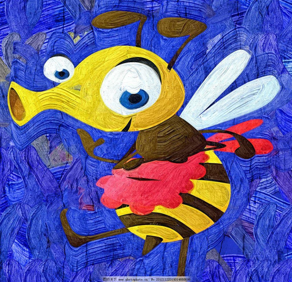 蜜蜂 油画 装饰画 无框画 手绘 绘画 昆虫 儿童画 卡通画 绘画书法