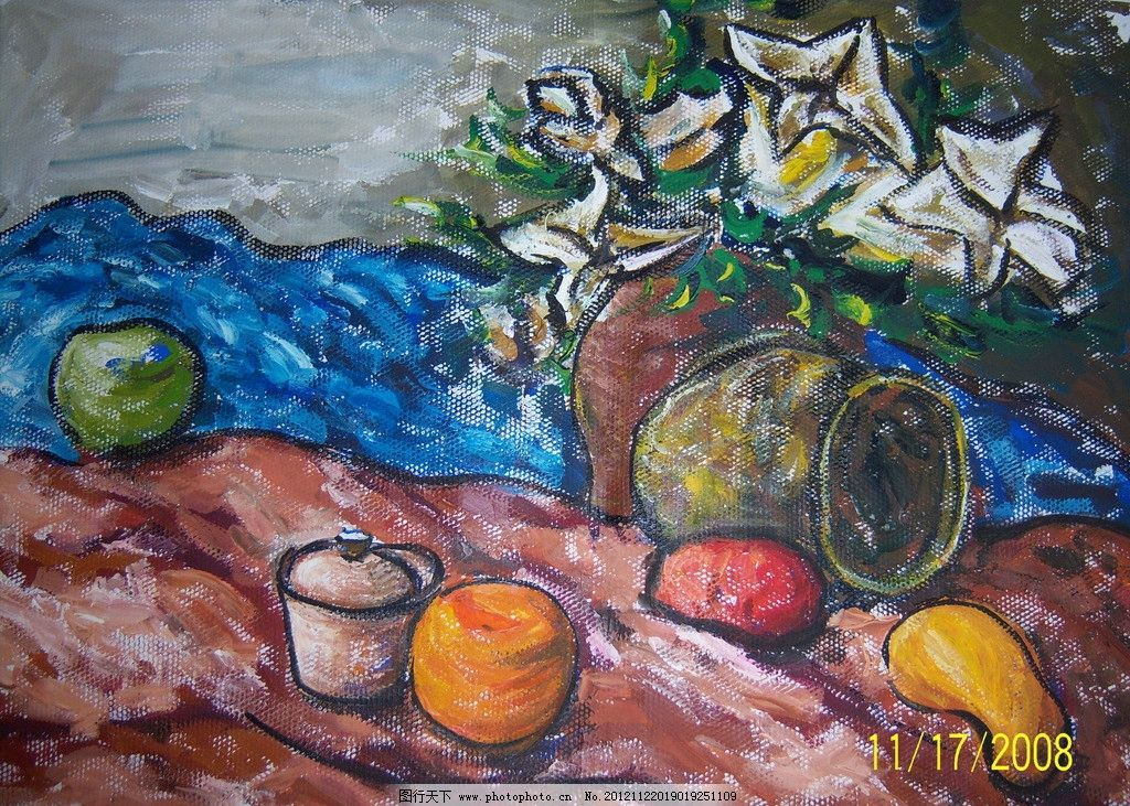 水粉静物写生 芒果 苹果 罐子 白花 蓝布 水粉 静物 绘画书法 文化