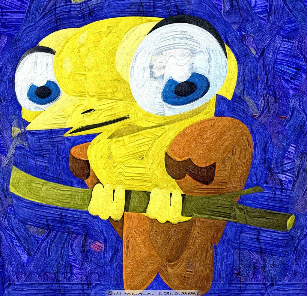 啄木鸟 油画 装饰画 无框画 手绘 绘画 动物 儿童画 卡通画 绘画书法