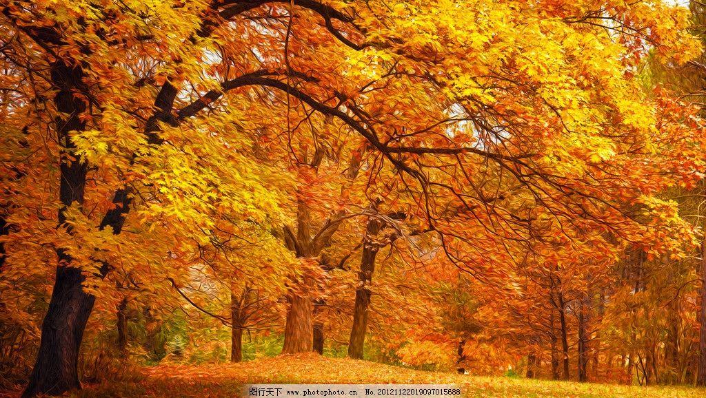 秋天油画风景图片