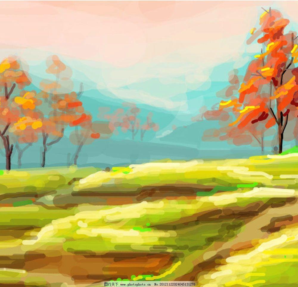 手绘秋天 风景 草地 树 红色 天空