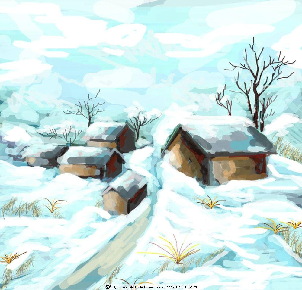 手绘冬天图片