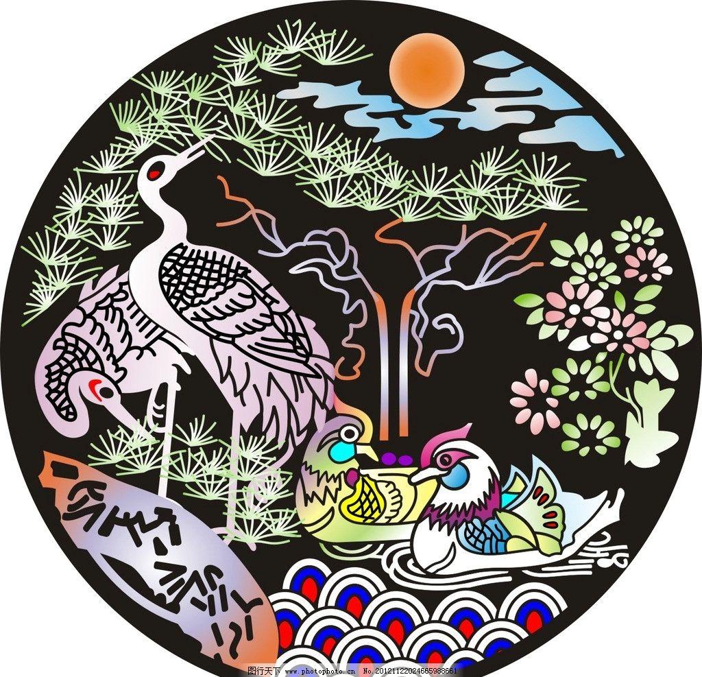 鸳鸯 屏风 矢量 设计 传统 艺术 花纹 花边 拼花 欧式 雕花 玄关 隔断