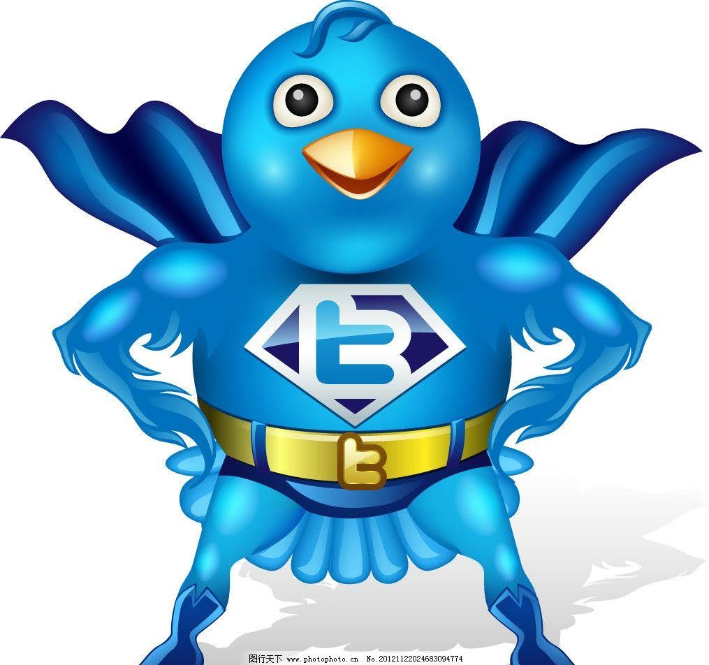 超人鸟 蓝色 鸟 披风 超人 鸟类 生物世界 矢量 ai