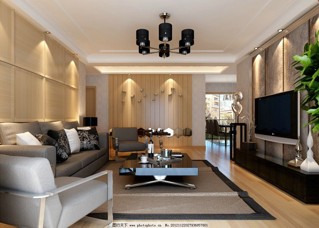 客厅 沙发 地毯 木地板 茶几 电视柜 吊顶 吊灯