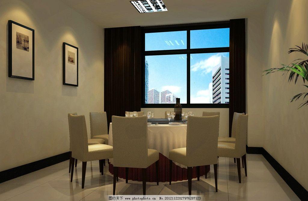餐厅效果图 餐厅 包厢 圆桌 装饰画        室内 室内设计 环境设计