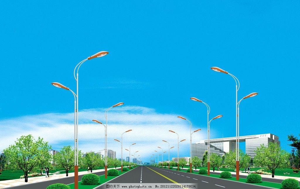 道路照明效果图图片