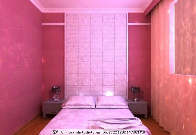卧室效果图 背景墙 床 粉色 欧式风格 墙纸 软包 小孩卧室 红色墙纸
