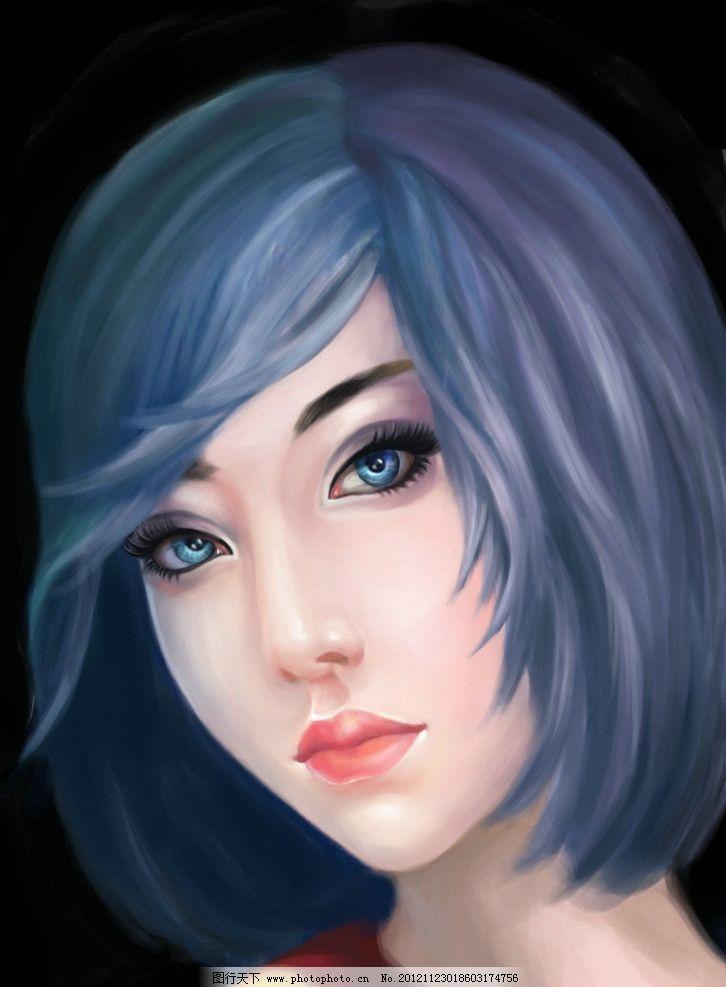 手绘头像 手绘 少女 女生 短发      其他 动漫动画 设计 300dpi jpg