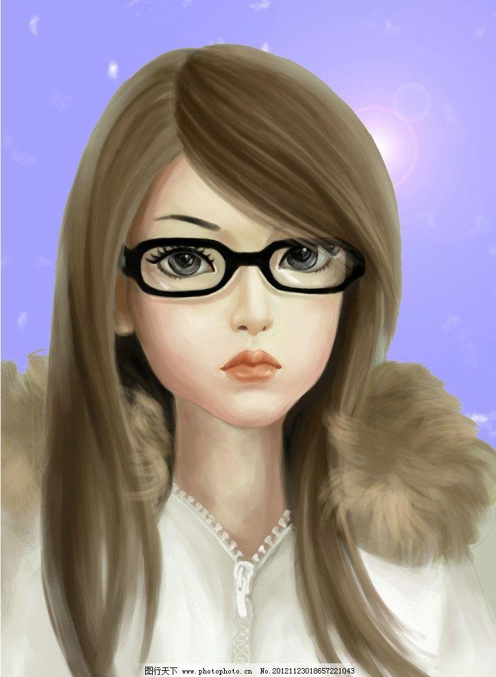 手绘头像 手绘 少女 女生 长发 眼镜      其他 动漫动画 设计 300dpi