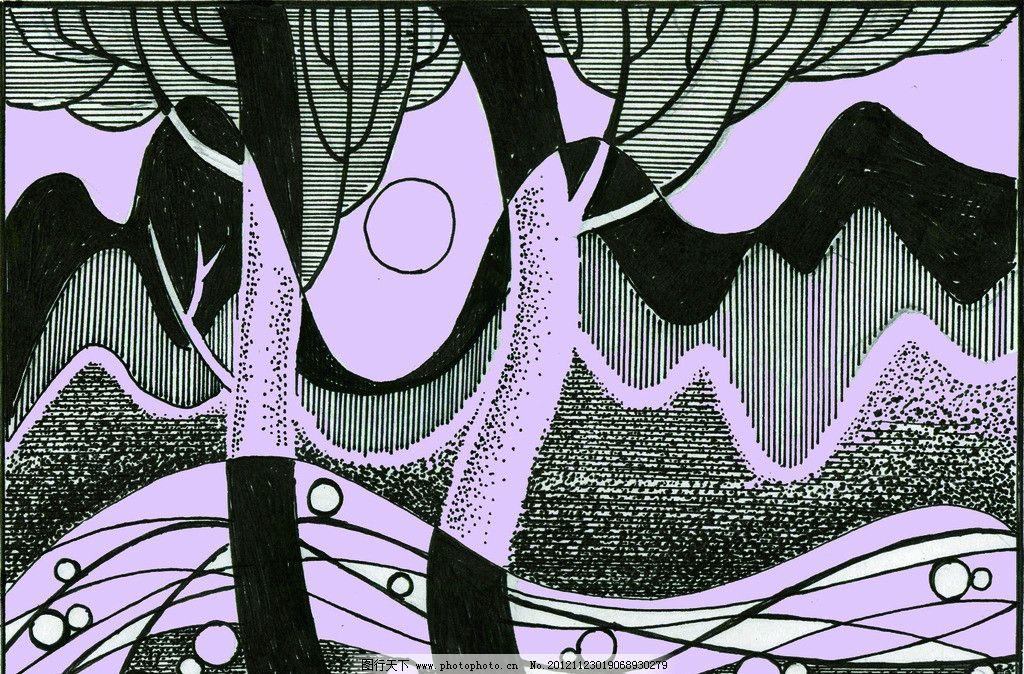 山水情装饰画 树 河流 手绘图 手工绘制 陈兆安绘 抽象设计图