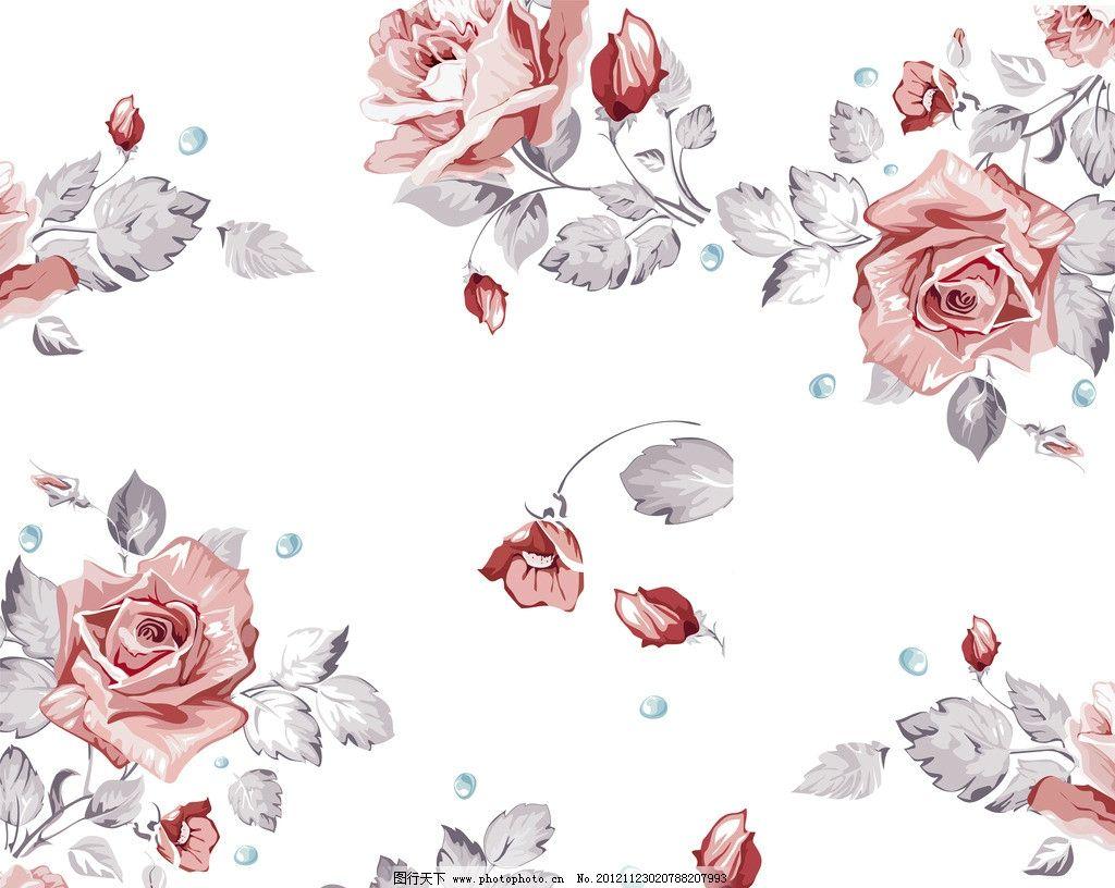 玫瑰花 手绘 红色 叶子 花瓣 水珠 水彩 花朵 布纹 装饰背景