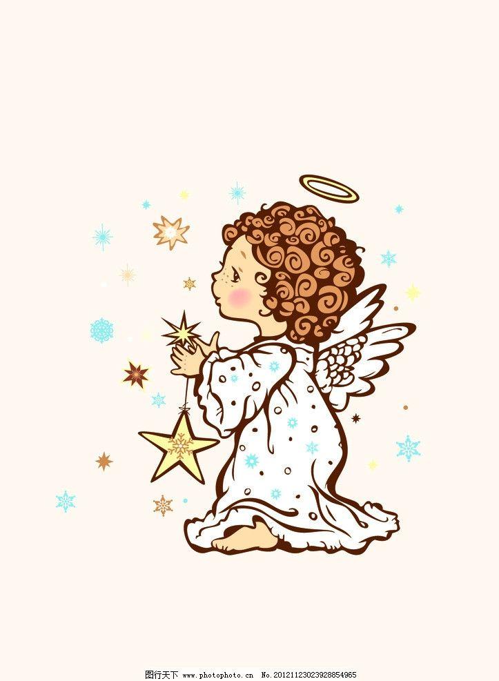 天使 带着翅膀的女孩 翅膀 其他人物 矢量人物 矢量 ai