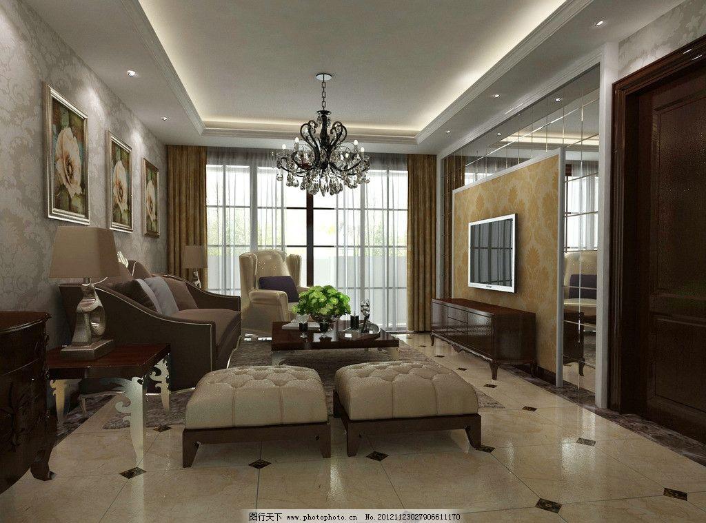 客厅效果图 新古典 欧式      电视墙 背景墙        室内设计 环境