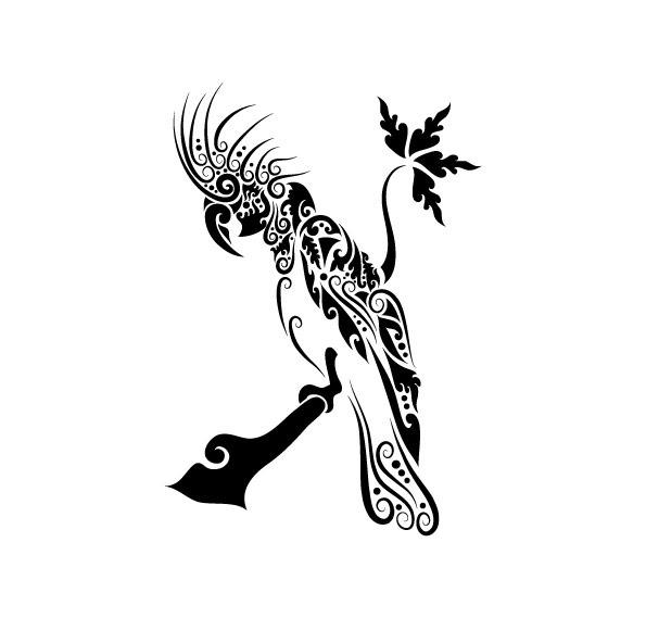 鹦鹉花纹矢量图