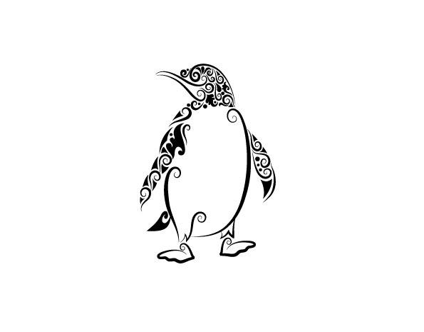 免费下载 矢量素材 矢量图 矢量图库 手绘 纹身 企鹅黑白花纹矢量图