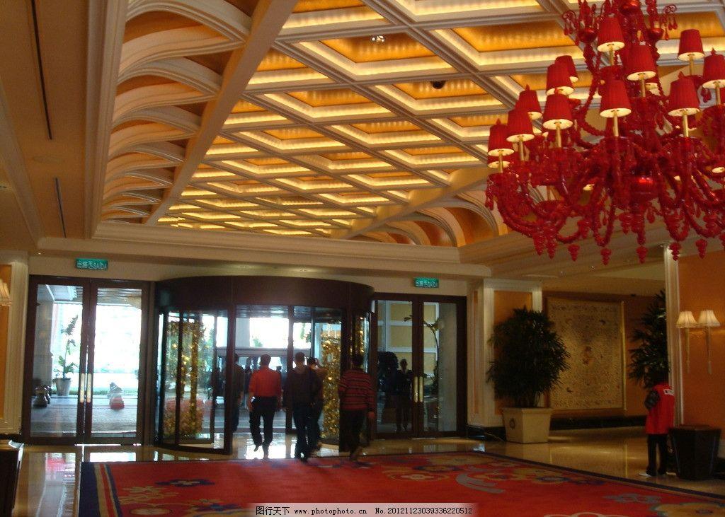 酒店装修 高档酒店 欧式酒店 酒店大堂 灯槽 玻璃门 地毯 吊灯 商场入