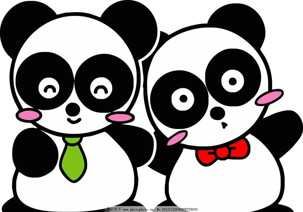 矢量 可爱卡通熊猫图片