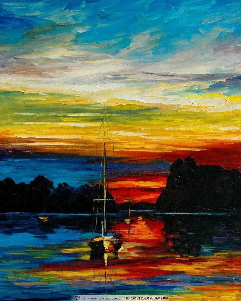 油画 夕阳海港 油画风景 绘画 艺术 油画艺术 海港 海湾 渔船 落日
