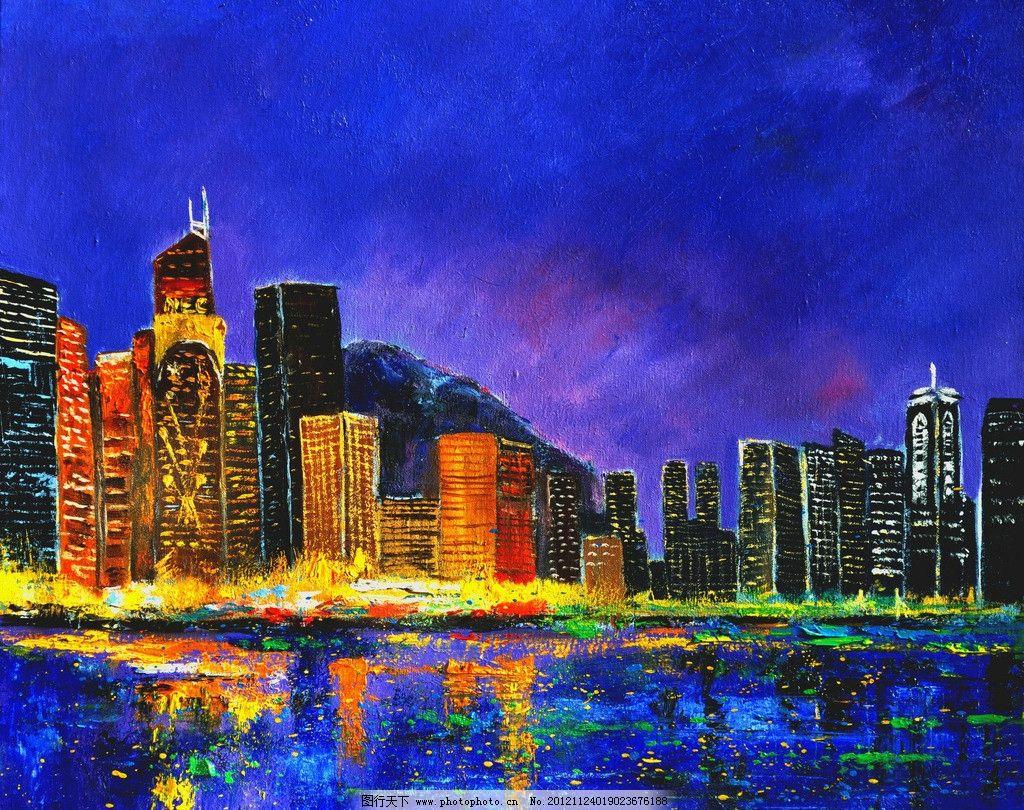 油画 都市夜景 油画风景 绘画 艺术 油画艺术 夜景 夜晚 城市 都市