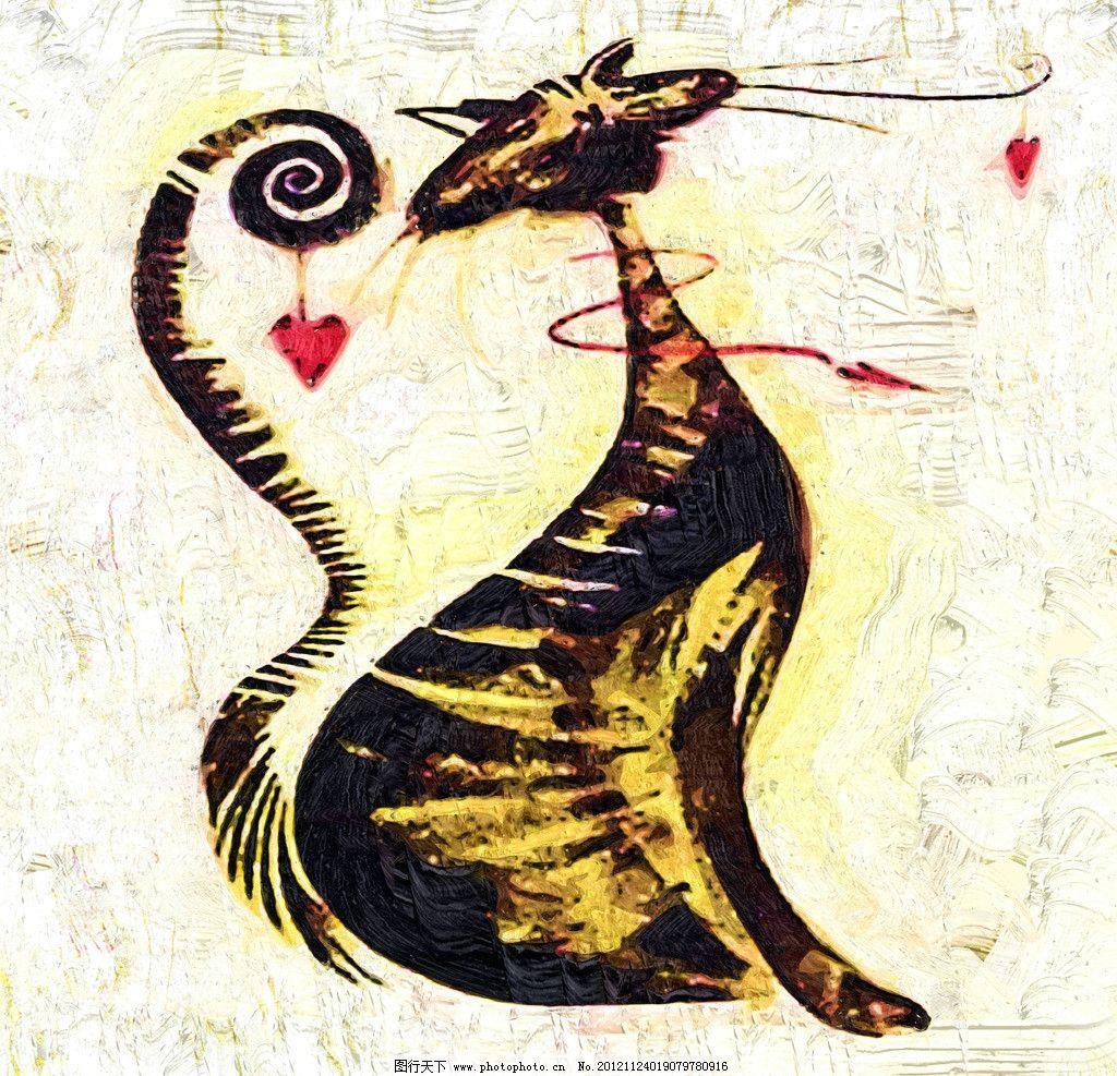 猫咪 油画 装饰画 无框画 手绘 绘画 动物 儿童画 卡通画 绘画书法