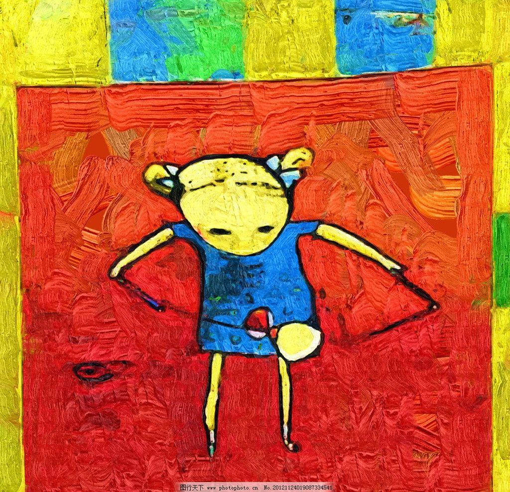 儿童画 油画 装饰画 无框画 手绘 绘画 儿童 卡通画 绘画书法 文化