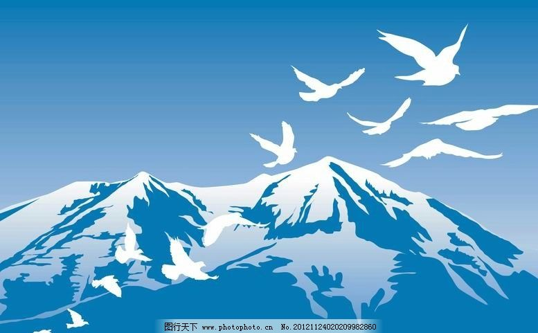 雪山飞鸟背景图片