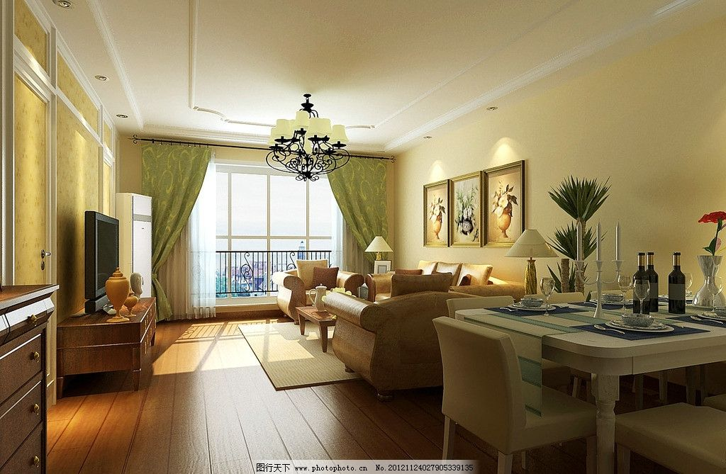 沙发 窗户 窗帘 电视 电视柜 茶几 餐桌 椅子 木地板 墙画 室内