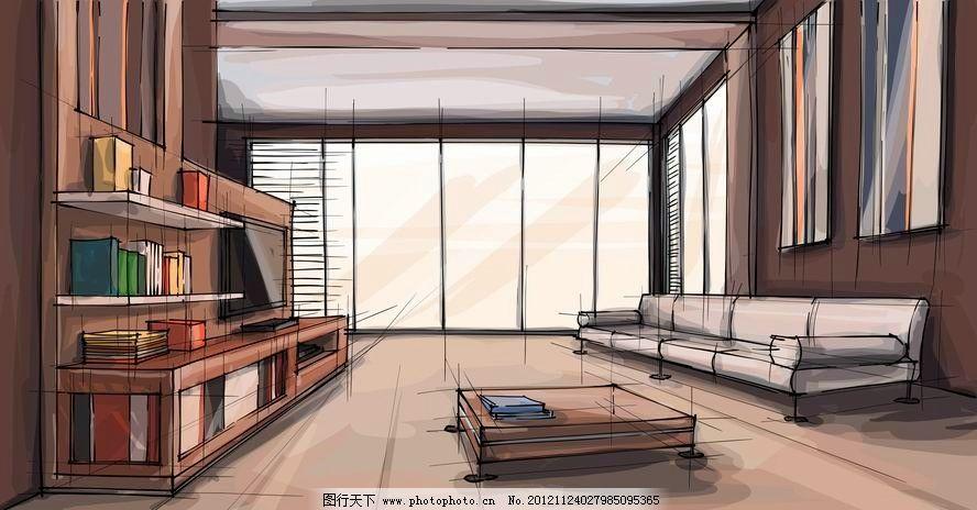 水墨客厅室内设计 沙发 茶几 书架 插画 手绘 欧式 时尚 梦幻