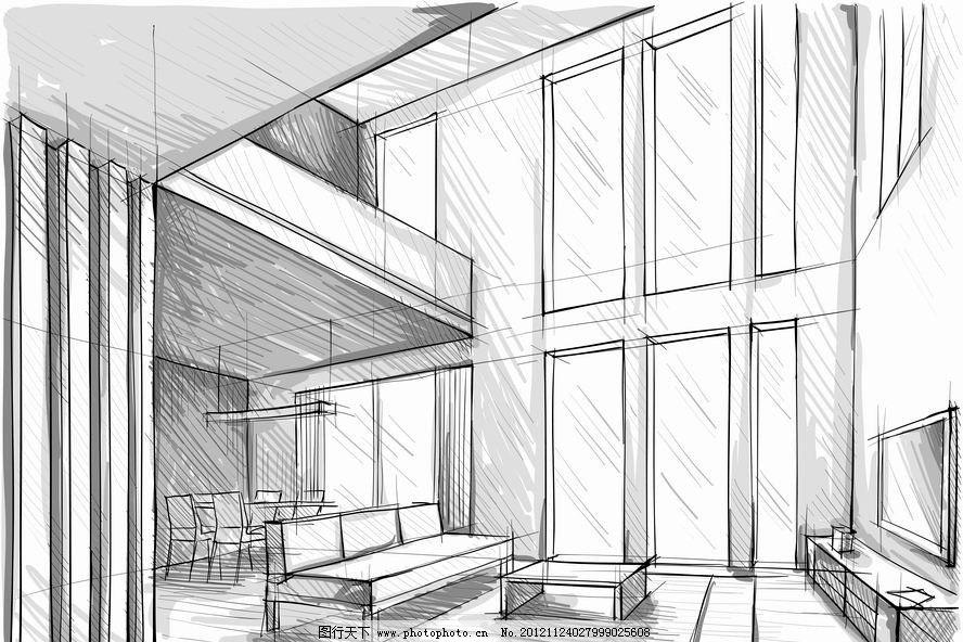 素描室内客厅设计 沙发 电视 茶几 餐桌 插画 手绘 欧式 时尚