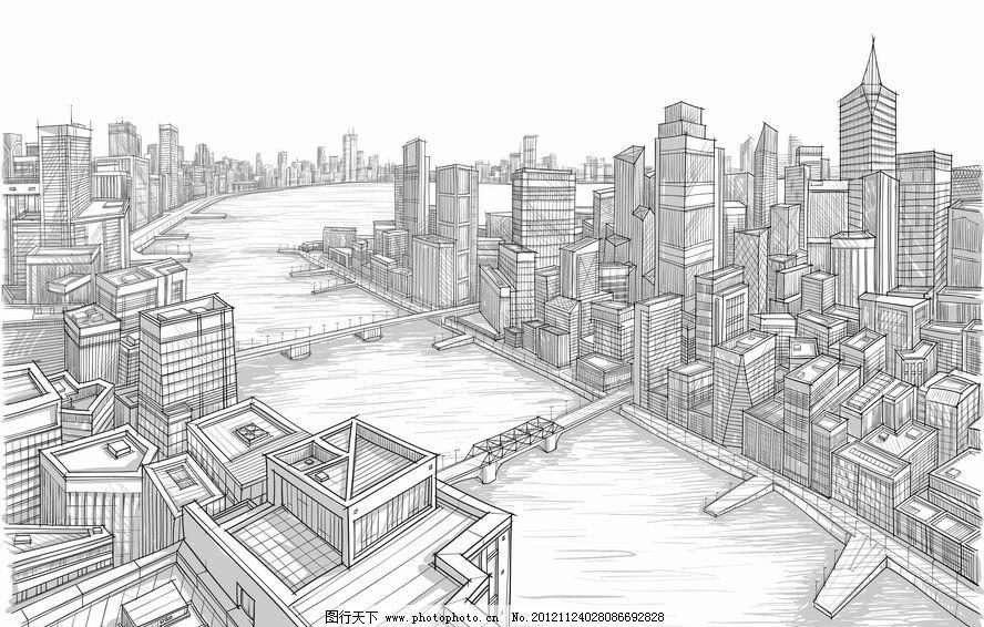 素描沿海城市建筑群 桥梁 高楼 大厦 都市 手绘 背景 矢量 城市建筑
