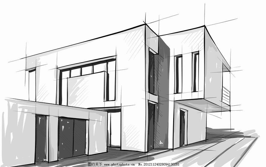 素描城市建筑 别墅 素描 住宅 城市 都市 建筑 手绘 背景 矢量 城市