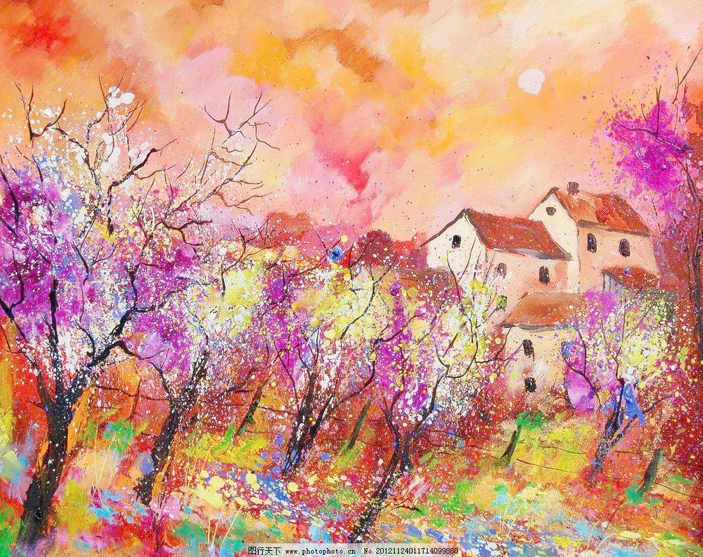 油画 开花的树设计素材 开花的树模板下载 开花的树 油画风景 绘画
