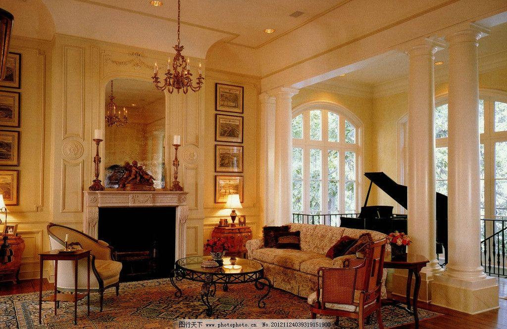 欧式别墅客厅钢琴照片