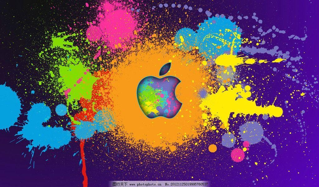 涂漆的苹果桌面 苹果 彩色 油漆 喷溅 标志 壁纸 企业logo标志 标志图片