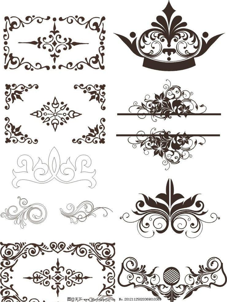 欧式花边花纹边框矢量图案图片