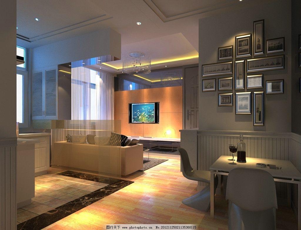 敞开式厨房      一室户 小户型 室内效果图 室内模型 3d设计模型 源