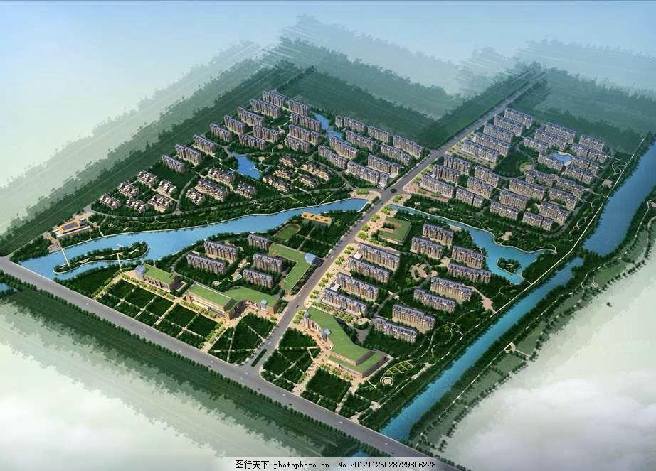 城镇住宅小区鸟瞰图 住宅 小河 河流 小溪 鸟瞰图 规划图 城镇规划图