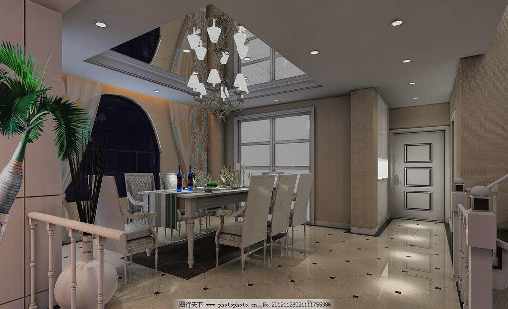 欧式餐厅效果图 欧式 简欧 餐厅 灰镜 线条 地砖拼花 餐桌 白色 吊顶